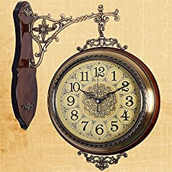 Kaxima Double-sided wall clock living room bedroom restaurant solid wood wall clock metal quartz watch