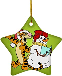 Tiyena Christmas Star Ornament Winnie Animated Family Musical Tigger Sing Holiday Song with Snowman Comedy The Pooh for Home Living Room Decoration Outdoor Desk Ceramic 3in (1/2/3) pcs/Pack