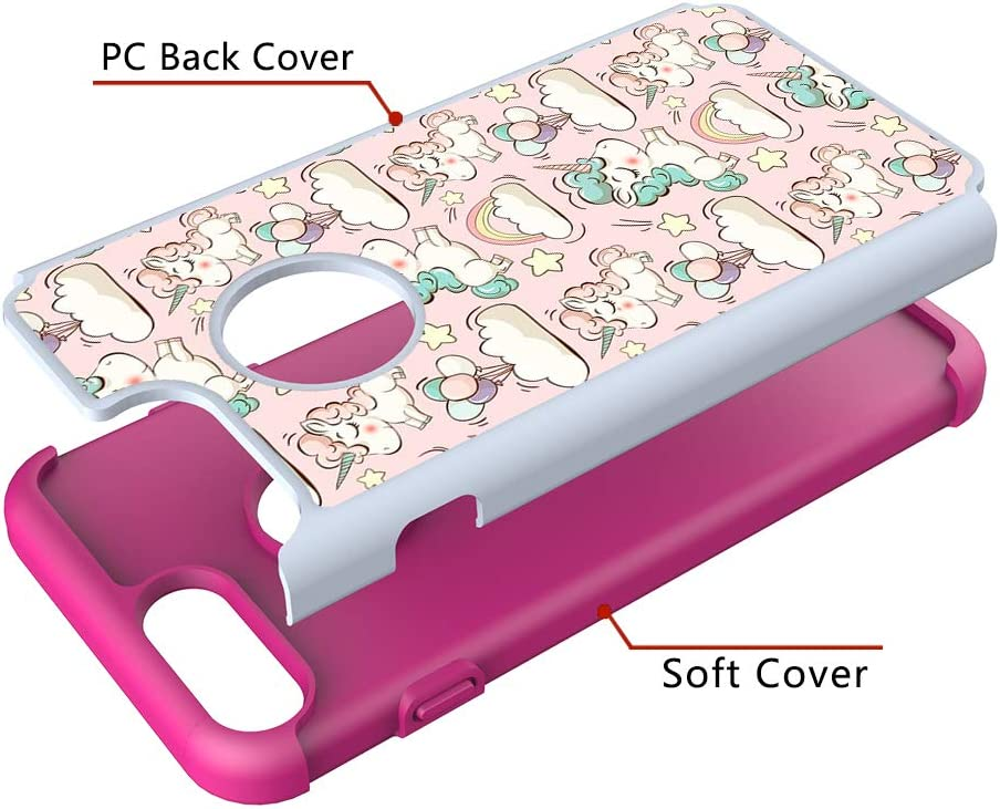 Heavy Duty Case for iPhone 6 Plus//6S Plus with Pattern,QFFUN Cute Pink Lotus Design Hard Plastic Soft Silicone Hybrid Dual Layer Back Cover Shockproof Protective Case Bumper and Screen Protector