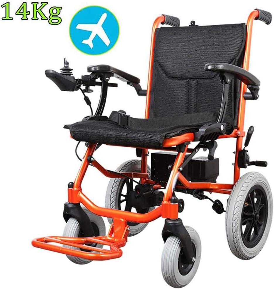 Wheelchair Silla de Ruedas eléctrica, Motor sin escobillas Plegable Ligero Ancianos discapacitados Vespa, Anchura del Asiento 42cm, batería de Litio extraíble Movilidad Silla