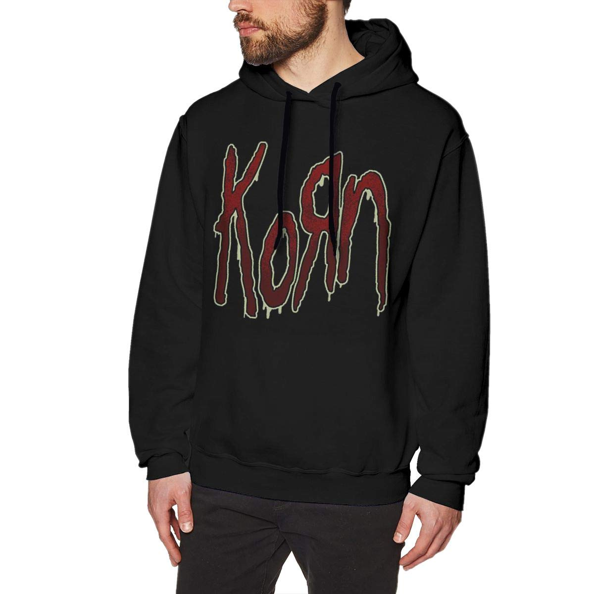 Wanjirong Men Fleece Pullover Hooded Print Korn Logo Sweatshirts