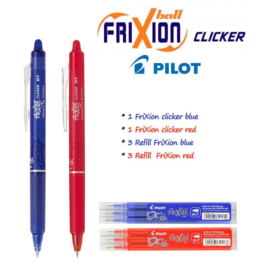 Pilot FriXion Ball Clicker Set con penna blu, penna rossa, 3 refill blu, 3 refill rosso Penna roller a scatto con inchiostro gel cancellabile,