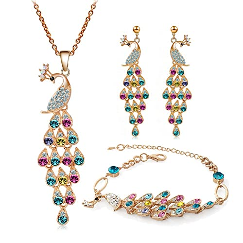 8f4b0ce22710be truecharms Colorful Crystal Peacock Jewelry Sets Necklace Earrings Bracelet  Sets (Gold)