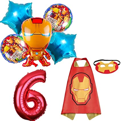 Amazon.com: CuteTrees Super Hero Iron Man 6º cumpleaños ...