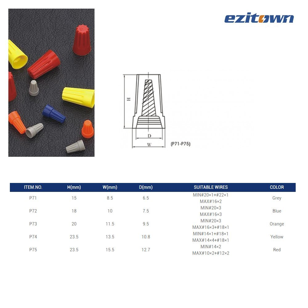 ezitown 30pcs wire screw-on electrical wire connectors in one polybag EZITOWN ELECTRICAL FACTORY 18-10 AWG, Red