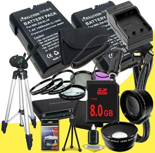 8GB SDHC Class 10 Memory Card Two Nikon D3100 Mini HDMI Cable 52mm Wide Angle // Telephoto Lenses 52mm 3 Piece Filter Kit D5100 Digital SLR Cameras EN-EL14 Fully Decoded Replacement Lithium Ion Battery Full Size Tr External Rapid Charger D3200