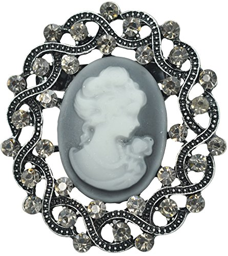 (Gyn&Joy Matte Silvery Tone Vintage Cameo Victorian Lady Maiden Crystal Rhinestone Brooch Pin BZ094)