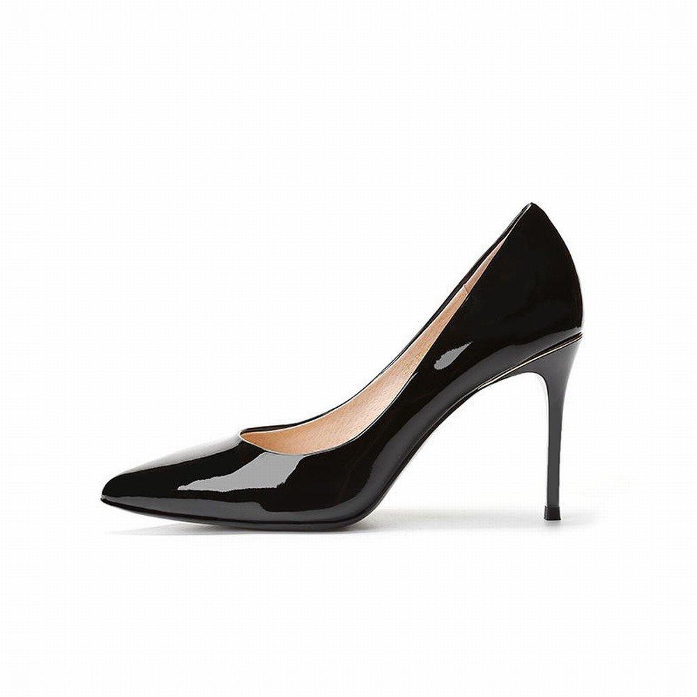 DIDIDD Spitze Fein mit Hohen Fersen Weibliche Frühlings- und Herbstlederlacklederarbeitsschuhe Reizvolle Schwarze Alleinige Schuhe Schwarz 34