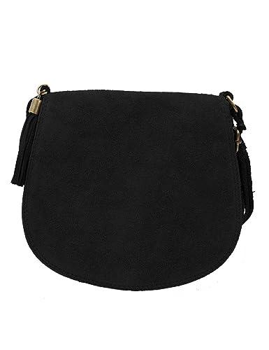 70cf5141df6a ImiLoa Ledertasche klein schwarz Lederhandtasche kleine Umhängetasche  Fransen Leder Tasche Wildleder Handtasche 36-bl