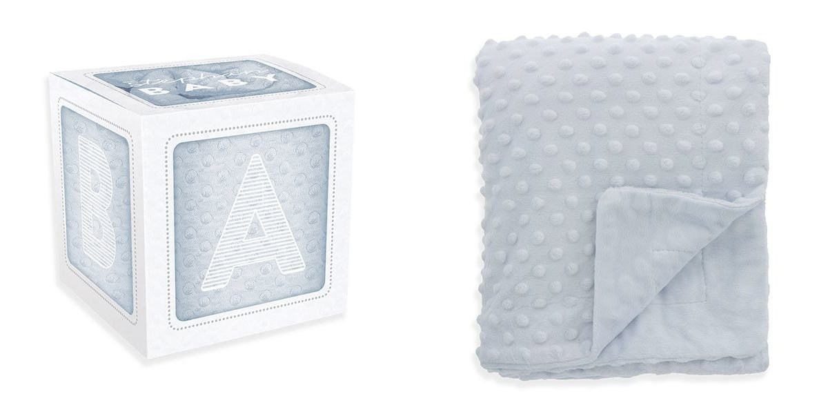 Stephan Baby Super-Soft Plush Bumpy Crib Blanket in Alphabet Block Gift Box, Blue, 30'' x 40''
