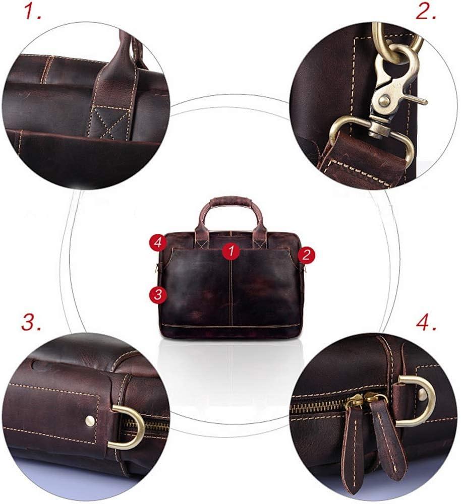 JUMERY-BB Mens Vintage Leather Handbag Large Capacity Multifunction Briefcase Adjustable Strap Business Shoulder Tote Laptop Tablet Bag Brown