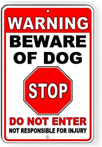 PotteLove Metal Sign - Warning Beware of Dog Will Bite - Vintage Home Bar Yard Decor Signs Rectangle Aluminum Funny Wall Art, Easy to Mount, 9