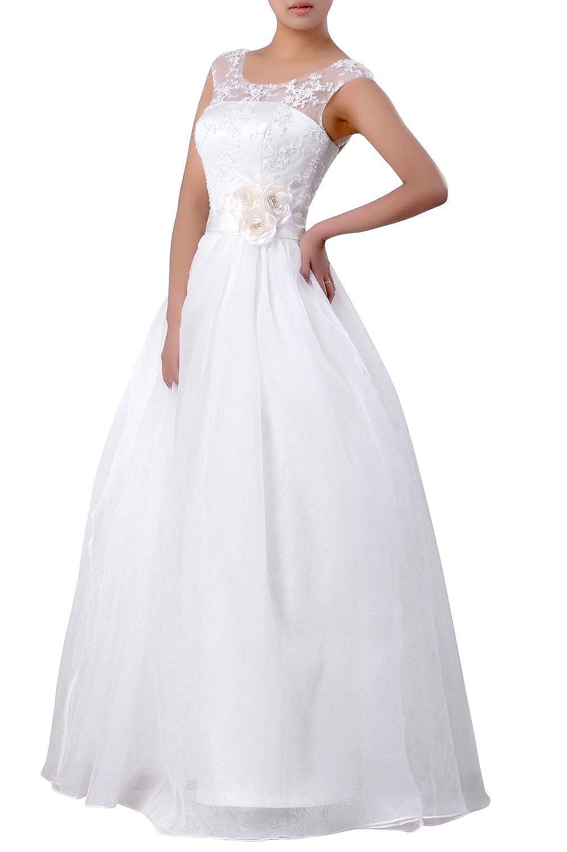 Natrual Bateau Straps A-line Organza Wedding Dress W20072