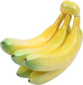 SLING Fake Fruit Bananas - Artificial Fruit Plastic Bananas for Still Life Paintings, Storefront Decoration, Kitchen Decor, Yellow, 7 x 5.5X 3.5 Inches
