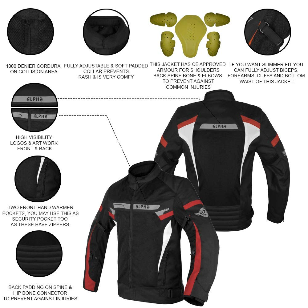 ORANGE BOSS, XXX-LARGE ALPHA CYCLE GEAR BREATHABLE BIKERS RIDING PROTECTION MOTORCYCLE JACKET MESH CE ARMORED