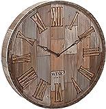 """IMAX 83457 Wine Barrel Wood Wall Clock, 28 x 28 x 5"""", Natural"""