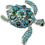 Silvercell Turtles Brooch Pins Light Blue Austrian Rhinestone Crystal Jewelry