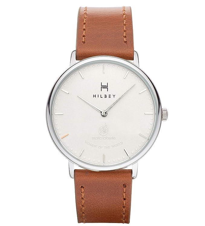 HILBEY Reloj Unisex - Reloj Pulsera de Diseño - Edición Limitada, Diseño de Maria Lafuente - Minimalista y Elegante - Resistente al Agua - Correa de Cuero, Esfera Blanca, Cuarzo Japonés GL20 Miyota