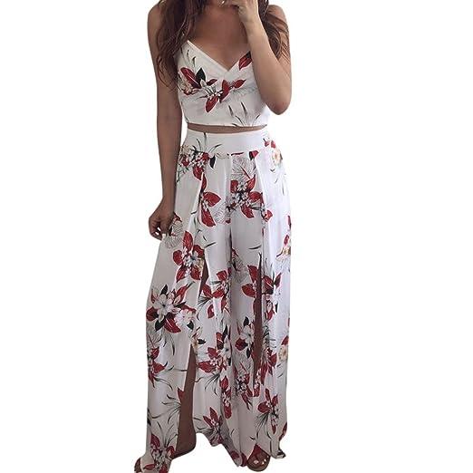 dd2d52814a70 Longay Women 2 Pieces Set V Neck Tanks Tops Flowers Romper Jumpsuit Long  Dress (S