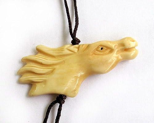 Amazon Com Ox Bone Carved Horse Pendant Necklace Jewelry