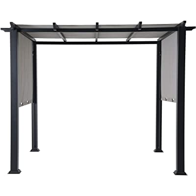 8 X 10 Ft. Metal Pergola with an Adjustable Gray Canopy Grey Modern Contemporary Rectangular Polyester Steel Fade Resistant Uv Protected: Home & Kitchen