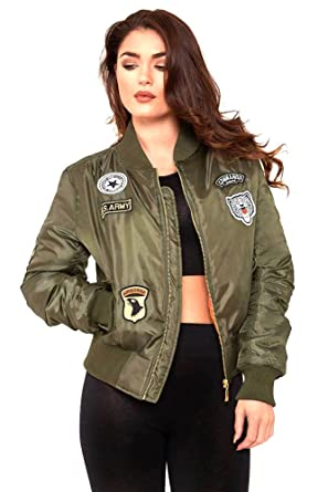 c925f5e5d Unogal Clothing Ladies Womens MA1 Army Style Patch Bomber Jacket Zip ...