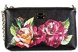 Dolce&Gabbana women's leather clutch with shoulder strap handbag bag purse black