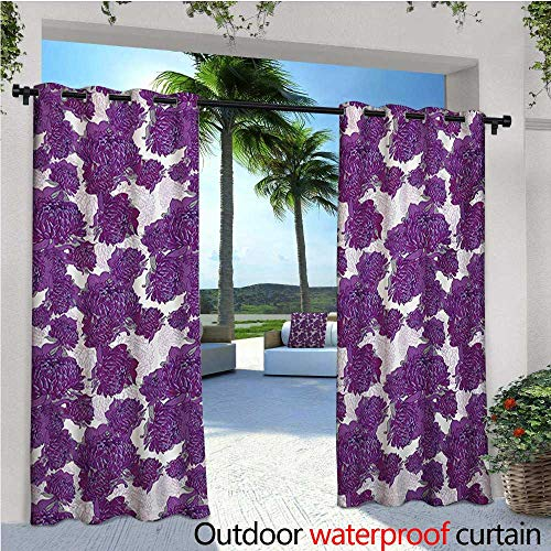 homehot Mauve Patio Curtains Unusual Vivid Allium Flower Petals Design Abstract Hippie Victorian Peony Artwork Outdoor Curtain for Patio,Outdoor Patio Curtains W84 x L84 Purple White (Flower Petal Design Knob)