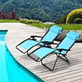 Ollieroo Black Zero Gravity Canopy Sunshade Lounge Chair with Pillow and Utility Tray Adjustable Folding...