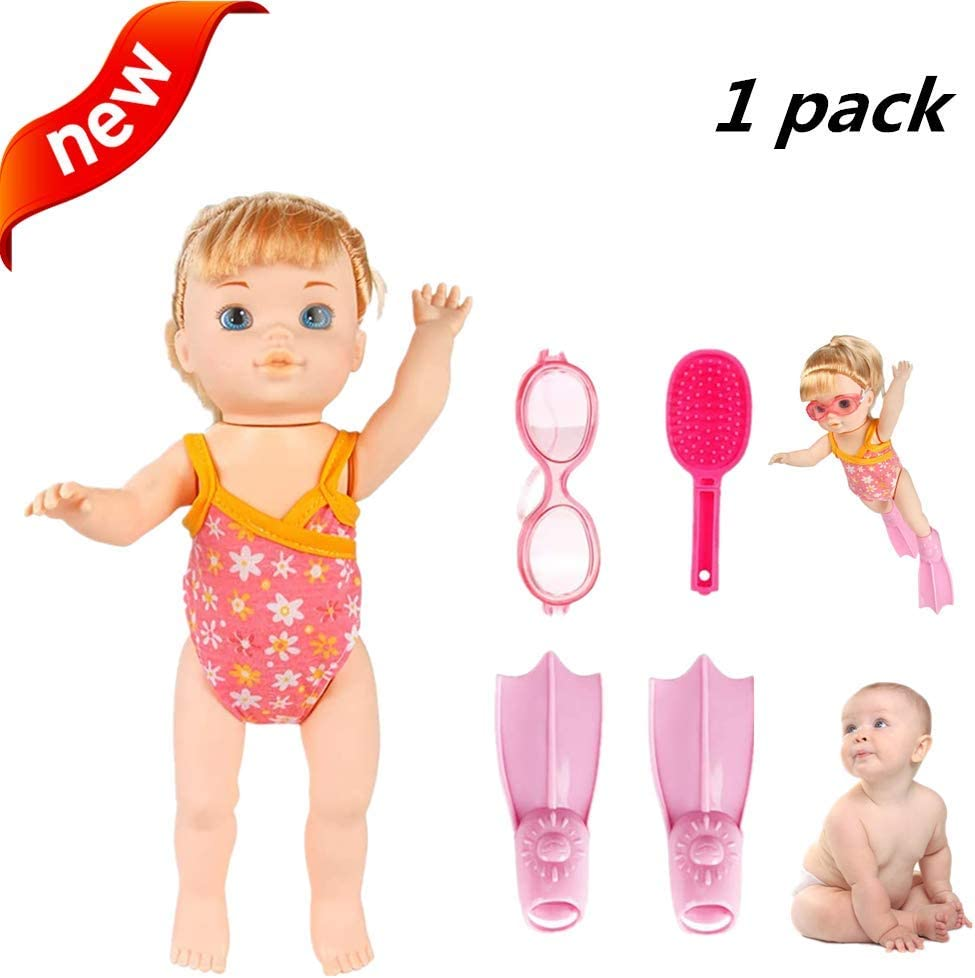 BerniceKelly Water Baby Doll Swimming Doll Waterproof Electric Doll Electric Swimming Doll Art Cute Doll Holiday Birthday Gifts Present for Kids Pink