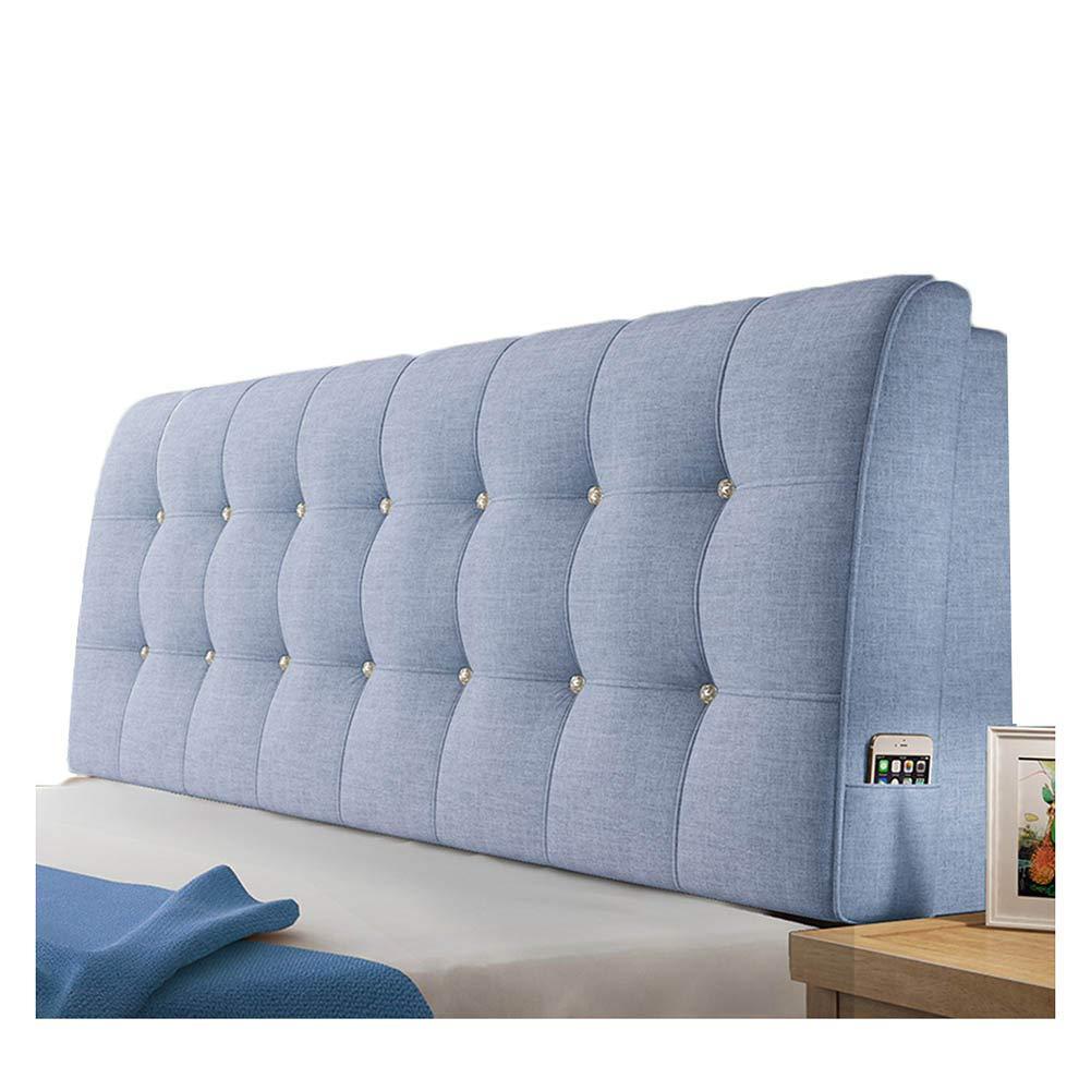 WENZHE クッションベッド 床用靠垫 ウェッジ リネン ソフトバッグ ホーム ホテル バックレスト ウォッシャブル、 5色 (色 : ブルー, サイズ さいず : 180x58x10cm) B07KR8CX1S ブルー 180x58x10cm