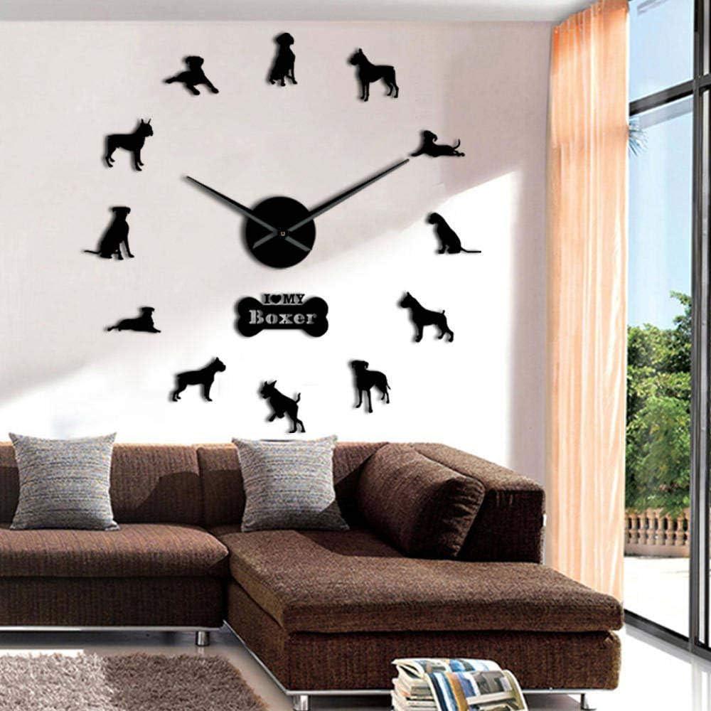 ZHAOCHENBO Reloj De Pared,Adorable Perro Boxer Alemán Reloj De Pared Negro Bricolaje Arte De Pared Grande Decoracion Kennel Clubs Salón Gigante Reloj Dueños De Mascotas Perros Regalo,47Pulg.