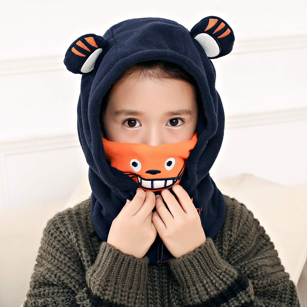 VBIGER Bonnet Hiver Chaud Enfant Cache Cou Cagoule Dessin animé avec un design à double couche