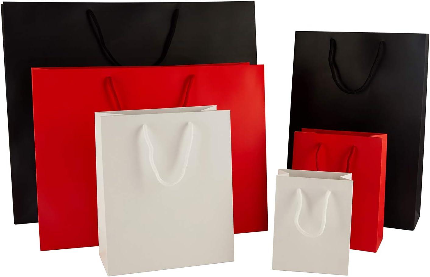 W/ählen Sie Ihre Gr/ö/ße und Menge Thepaperbagstore 5 Rot Extra Kleine Matt Seilgriff Papiert/üten 115x65x145mm