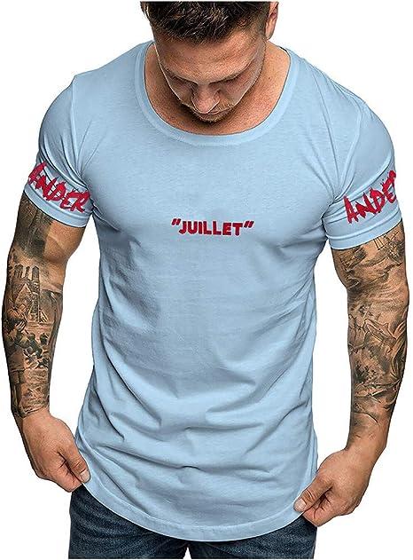 ღWawer • Camiseta de Manga Corta para Mujer, Cuello Redondo, Blusa geométrica, Camisa, Camisa, Camisa, Elegante, Camisa Blanca (M-3XL), Hombre, Azul, XXXL: Amazon.es: Deportes y aire libre