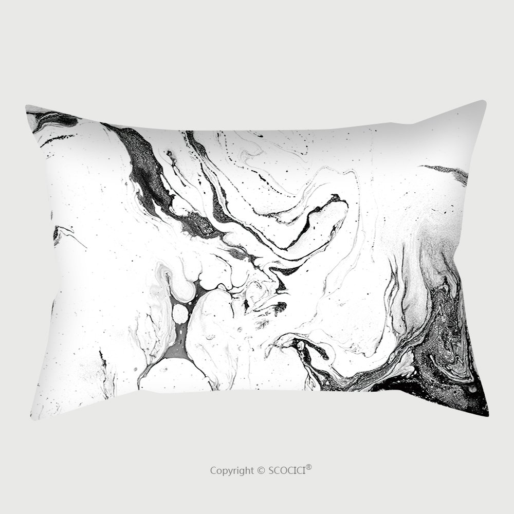 Custom Satin Pillowcase Protector Black And White Background Liquid Ink On Paper Beautiful Grunge Texture For Card Poster 433251364 Pillow Case Covers Decorative by chaoran