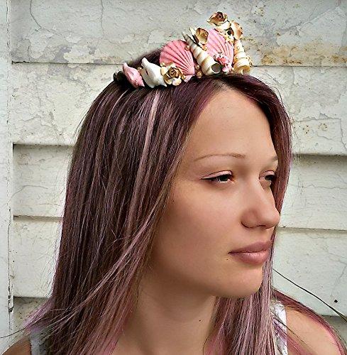 Meerjungfrau Krone Mädchen rosa Krone Meeresmuschel Krone Strand-Hochzeit Tiara