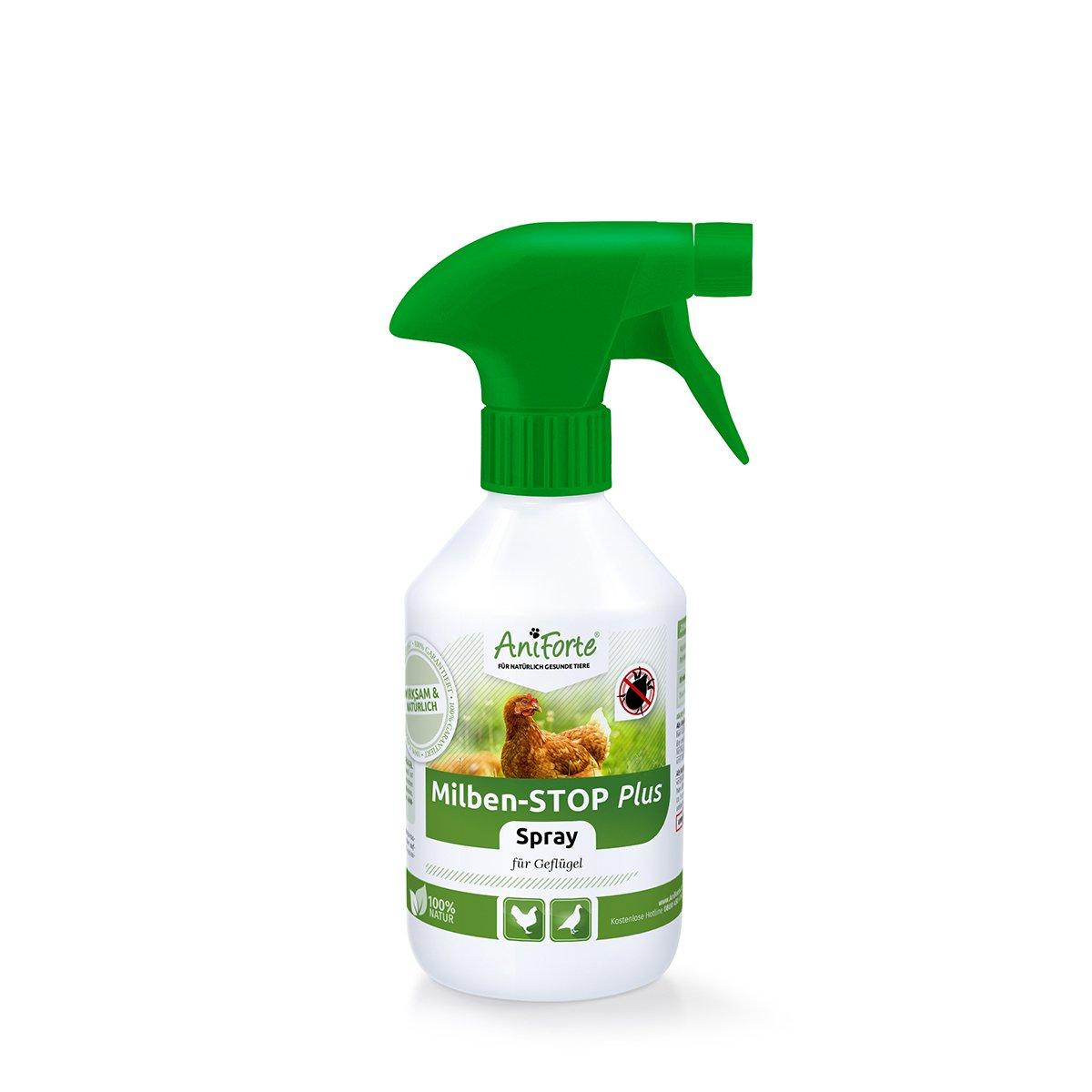 AniForte Milben - Stop Spray 250 ml - Naturprodukt für Geflügel gegen Milben und Parasiten ALS Umgebungsspray, Kontaktspray, bei akutem Befall und Vorbeugende Maßnahme, Natürlich effektiv Natürlich effektiv Görges Naturprodukte GmbH