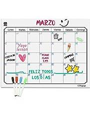 Calendario Magnético para Nevera,17Planet Pizarra planificador de borrado en seco,Pizarra de Planificación Ideal para Planificar Estudios, Exámenes, Tareas (Set 4)