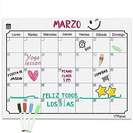 Calendario Magnético para Nevera,17Planet Pizarra planificador de ...