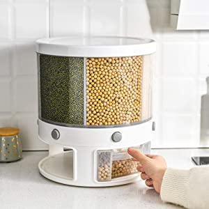 Rice Storage Container,22 Lbs Automatic Rice Dispenser Grain Storage Bin,Cereal Dry Food Storage Box,360 Degree Rotation Rice Bucket with Measuring Cup