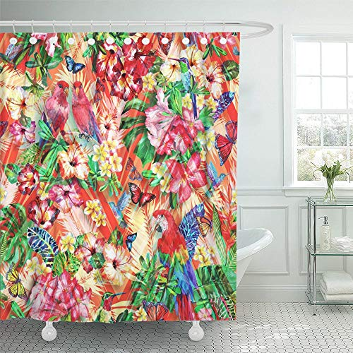 - Emvency Shower Curtain Set Waterproof Adjustable Polyester Fabric Floral Tropical Exotic Bloom Plant and Animals on Geometric Birds of Paradise 72 x 78 Inches Set with Hooks for Bathroom