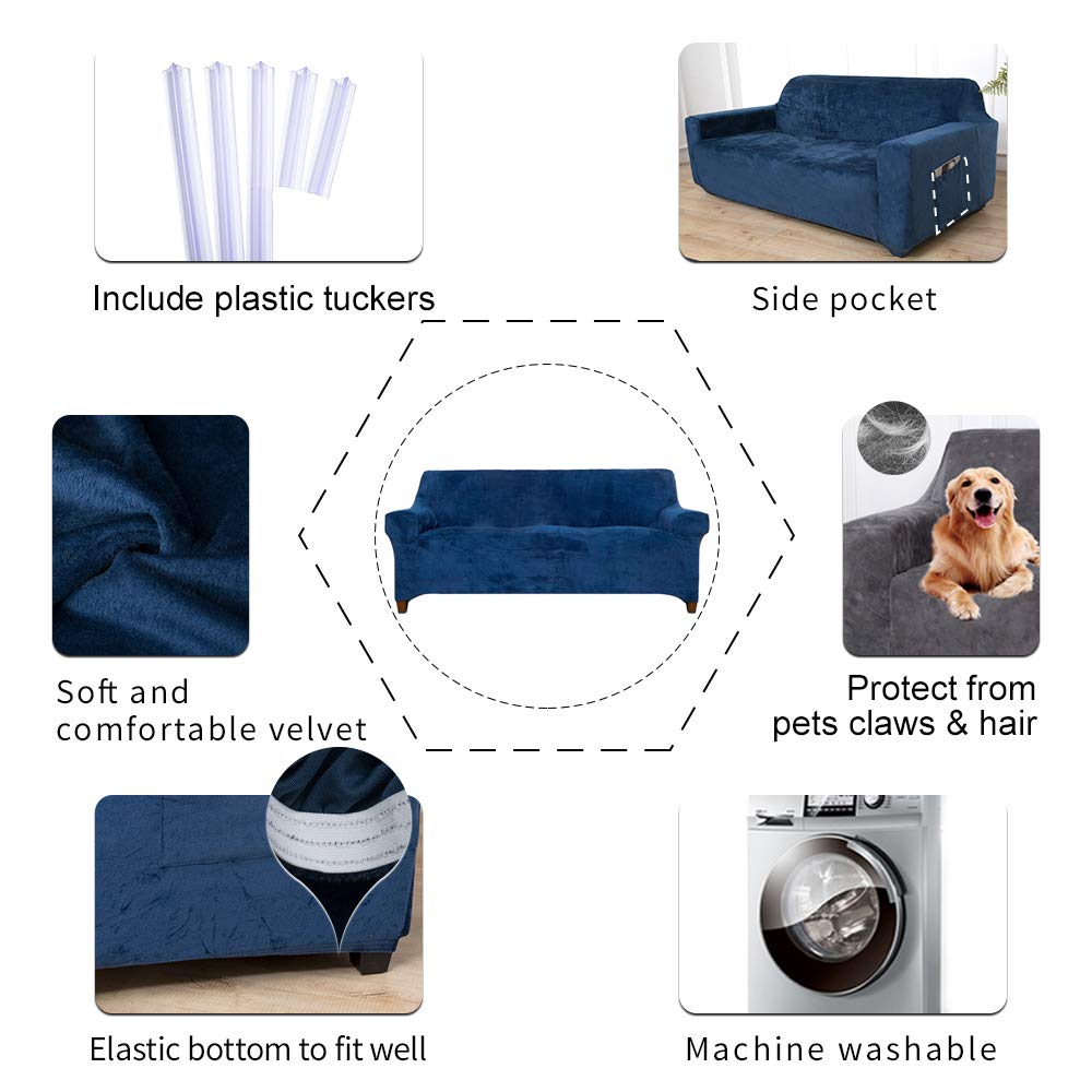 ACOMOPACK Velvet Sofa Cover Stretch Couch Cover for 3 Cushion Couch Cover Sofa Slipcover with Plastic Tuckers and Side Pocket for Living Room Furniture Protector for Dogs(Sofa, Navy Blue)