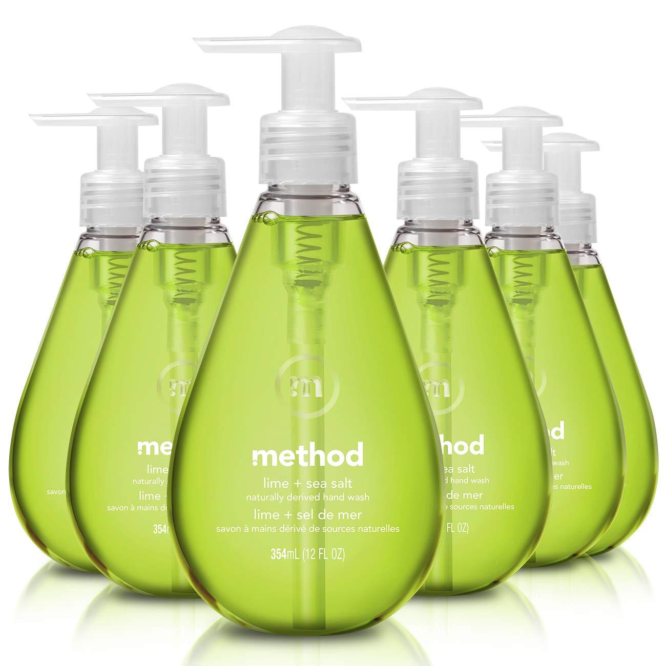 Method Gel Hand Soap, Lime + Sea Salt, 12 Fl Oz (Pack of 6)