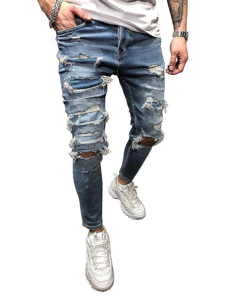 Bmeig Jeans Rasgados Hombres Hombres Vaqueros Denim Skinny Moda Pantalones Slim Fit Jeans Rotos Ripped Flaco Biker Jeans Disenador Clasico Pantalones S 2xl Azul Vaqueros