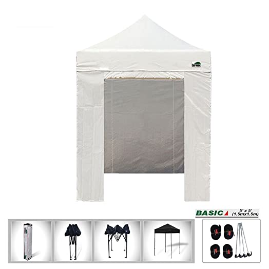 5x5 Pop Up Canopy Instant Outdoor Party Tent Shade Gazebo 4 Sidewalls Walls White