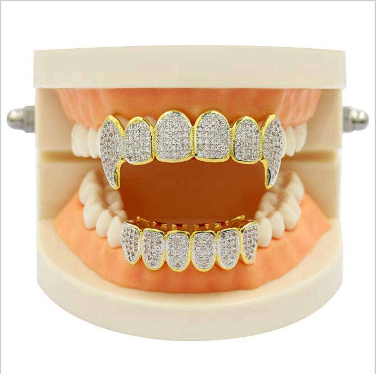 Maple_Leaf Grillz Diamond Top and Bottom Set BBQ 24K Gold-Plated Grill for The Top of The Mouth Top Hip Hop Teeth Grill, Teeth Baking Cap Men and Women Gifts by Maple_Leaf
