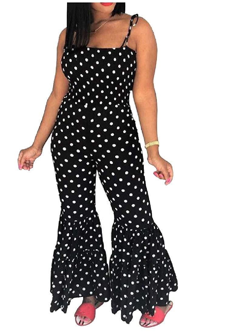 Abetteric Womens Wide Leg Polka Dot Strap Bodycon Jumpsuits Rompers