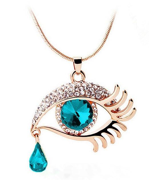 5b36902dd785 VJGOAL Damen Halskette, Mode Magisches Auge Crystal Tear Drop Wimpern  Halskette Das Geschenk der Langen