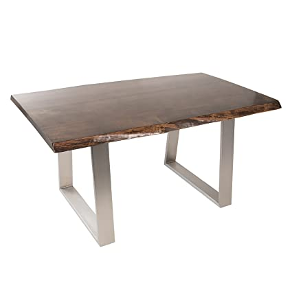 Amazoncom Live Edge Slab Walnut Dining Table With Metal Base